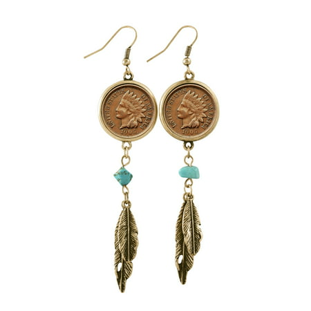 100 Year Old Indian Head Penny Feather Goldtone Coin Earrings
