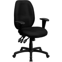High Back Black Fabric Ergonomic Swivel Office Chair with Adjustable Arms