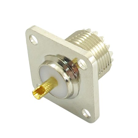 Unique Bargains SO-239 UHF Female Four Holes Chassis Mount RF Coax Connector for Radio Antenna