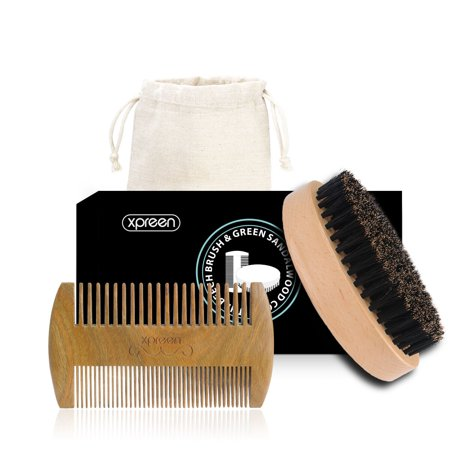 Wood Comb & Brush,Xpreen Wooden Comb Brush kit for Beard, Hair & Mustache styling, 100% Handmade Green Sandal Wood, Double-side-tooth