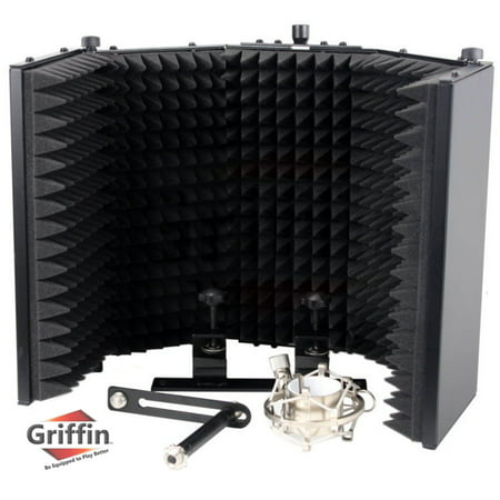 Studio Microphone Soundproofing Acoustic Foam Panel by Griffin Soundproof Filter Sound Diffusion Mic Booth Shield Insulation Diffuser Noise Deadening/Absorbing/Barrier for Audio Music