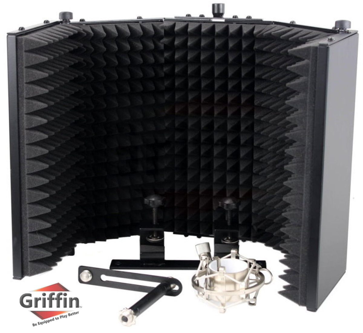 Studio Microphone Soundproofing Acoustic Foam Panel by Griffin Soundproof Filter Sound Diffusion Mic Booth Shield Insulation Diffuser Noise Deadening/Absorbing/Barrier for Audio Music Recording