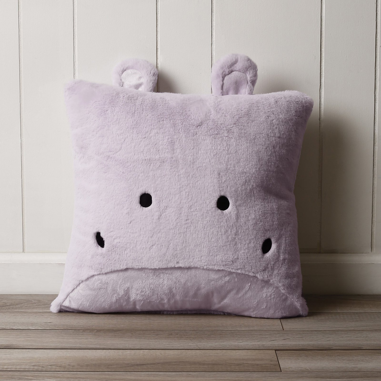 Best Home Fashion Faux Fur Plush Hippo Pillow