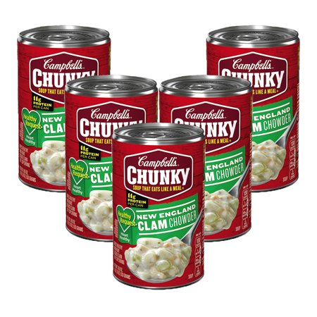 (5 Pack) Campbell's Chunky Healthy Request New England Clam Chowder, 18.8