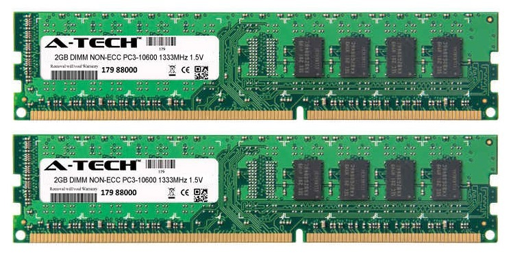 4GB Kit 2x 2GB Modules PC3-10600 1333MHz 1.5V NON-ECC DDR3 DIMM Desktop 240-pin Memory Ram