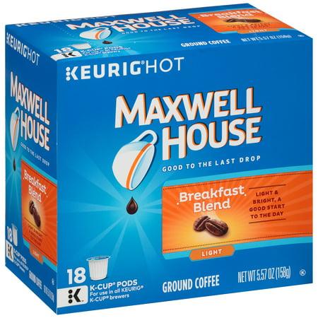 Maxwell House Breakfast Blend Coffee K Cup  Packs 18 Ct Box