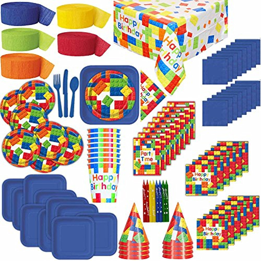 Lego Themed Birthday Party Supplies for 8: Plates, Cups, Napkins ...