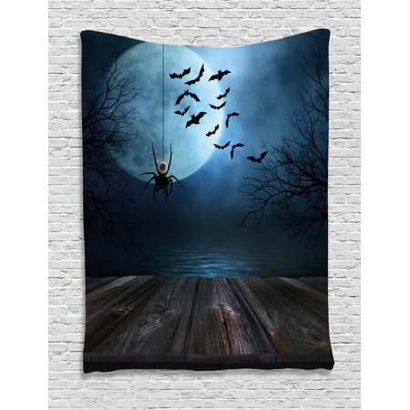 Halloween Tapestry (Halloween Tapestry, Misty Lake Scene Rusty Wooden Deck Spider Eyeball and Bats with Ominous Skyline, Wall Hanging for Bedroom Living Room Dorm Decor, Blue Brown, by)