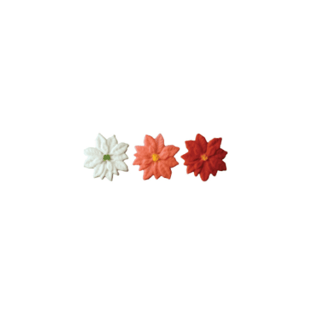 Set of 12 Multi Colored Poinsettia 1 1/2inch Edible Sugar Cake & Cupcake Decoration Toppers