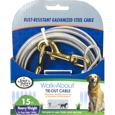Four Paws-Container-Four Paws Dog Tie Out Cable- Heavyweight- Silver 15 Ft (Four Paws Cable Tie)
