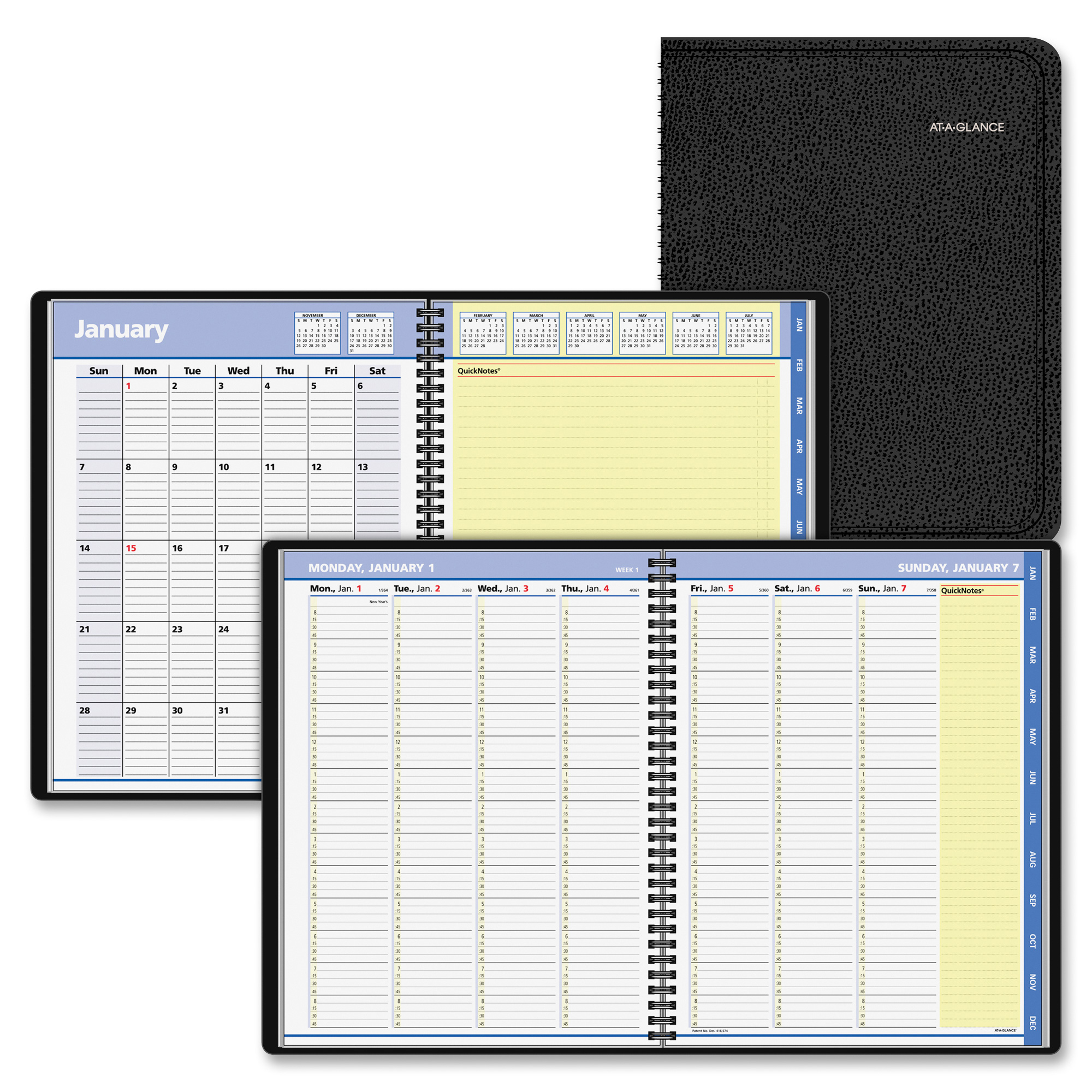 AT-A-GLANCE QuickNotes Weekly/Monthly Appointment Book, 8 1/4 x 10 7/8, Black, 2017