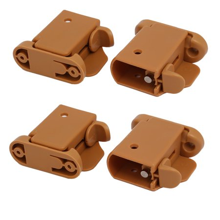 21mmx35mm Left Right Side  Guardrail Rail Buckle 2 Sets Brown w Spring