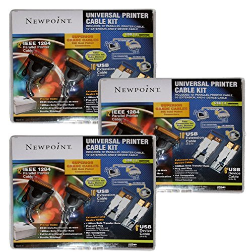 Newpoint Universal Printer Cable Kit 3 Pack Bundle