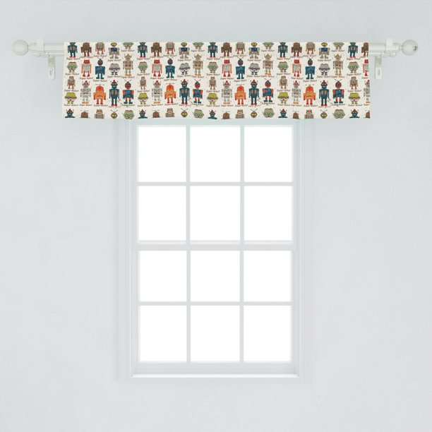 Robot Window Valance Various Different Super Robot Set In Cartoon Style Fantasy Futuristic Machine Curtain Valance For Kitchen Bedroom Decor With Rod Pocket By Ambesonne Walmart Com Walmart Com