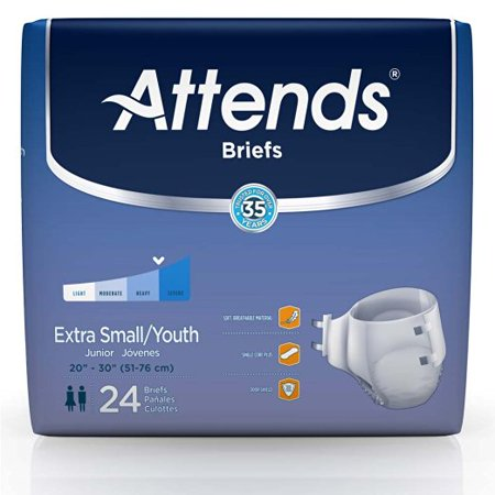 Attends Adult Extra Absorbent Breathable Briefs  Small 20''-32'' 2 Packs of 24 Attends Breathable Extra Absorbent