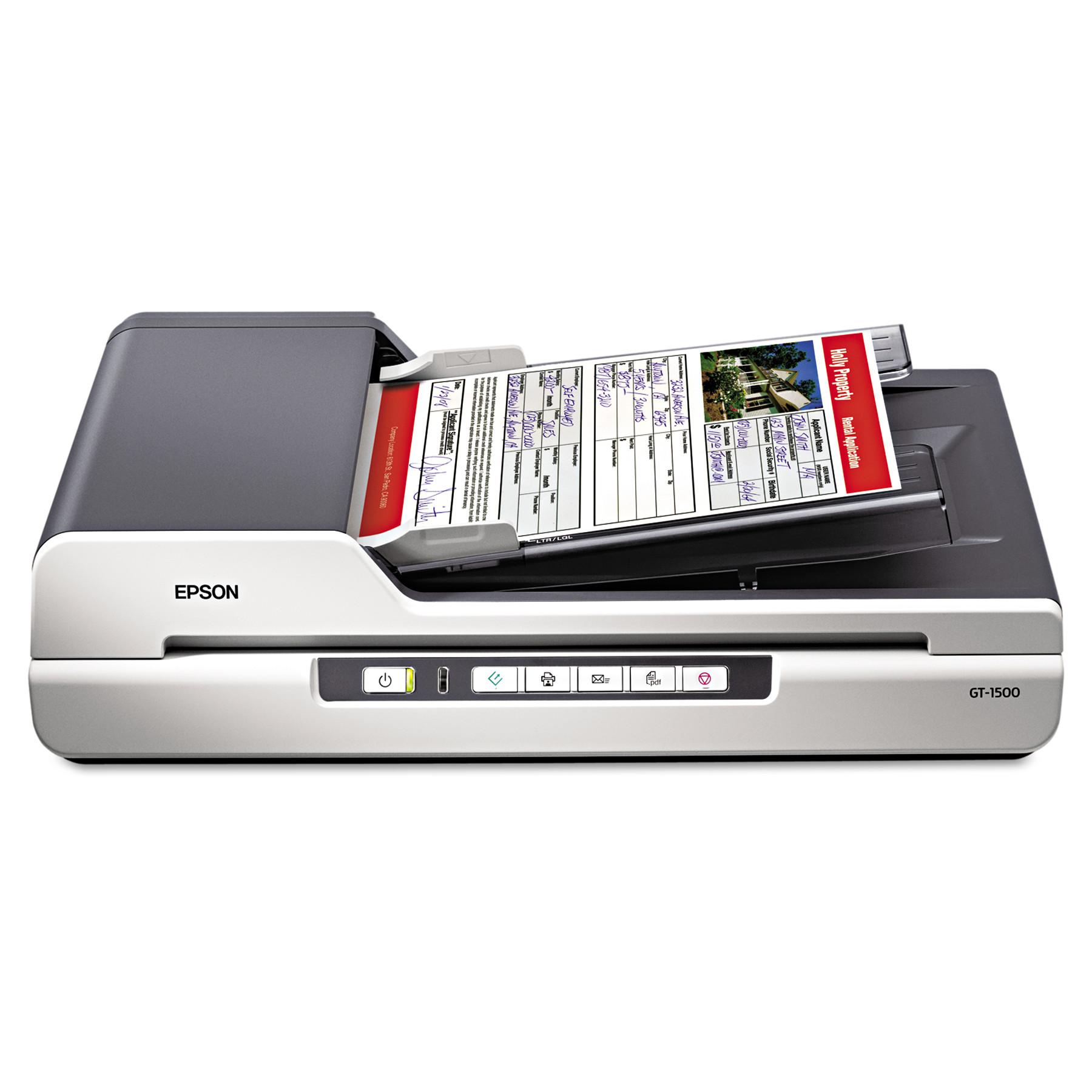 Epson GT-1500 Flatbed Color Image Scanner, 600dpi, Manual...