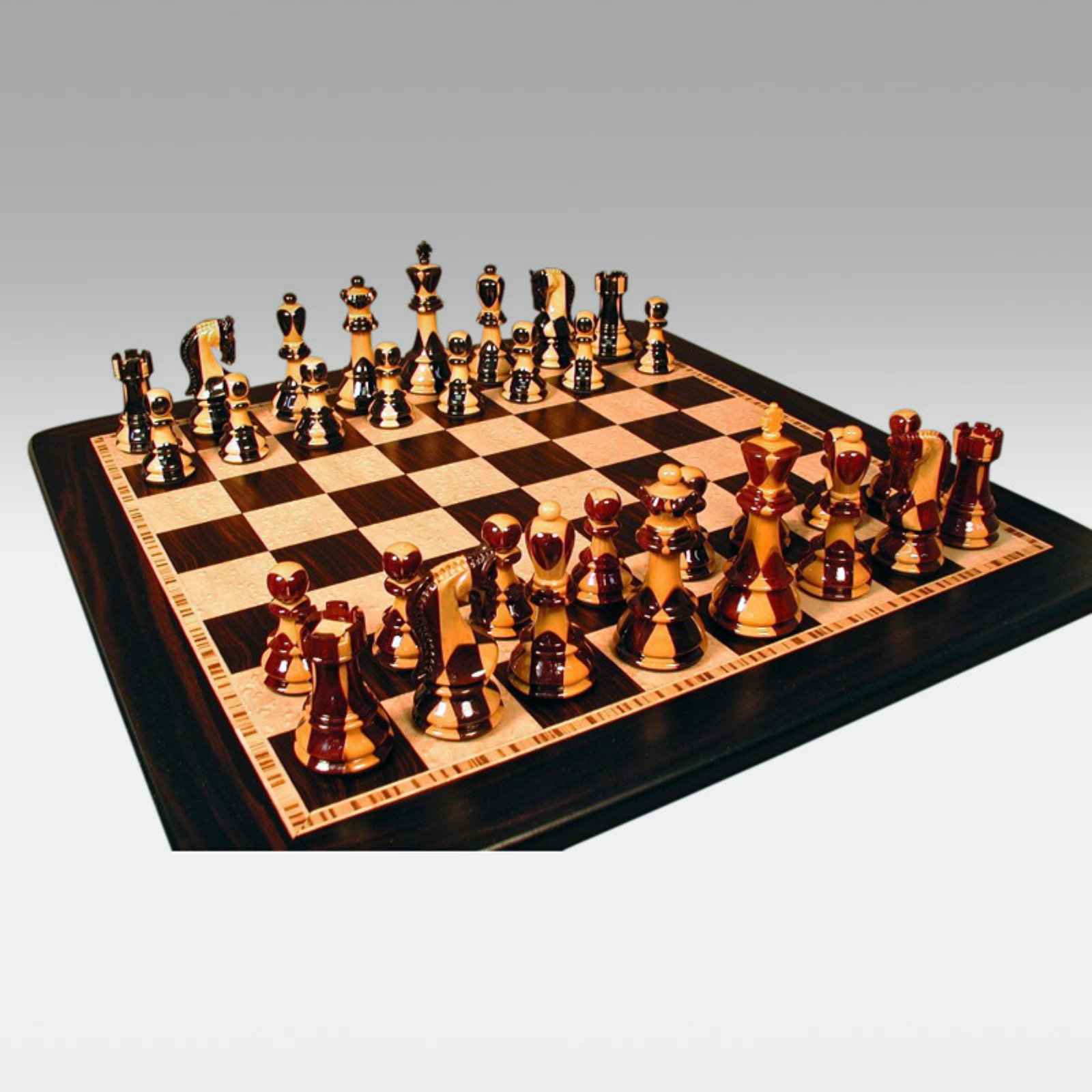Double Weight Inlaid Sheesham and Ebony Chess Set with Ebony Birdseye Maple Board by World Wise Imports