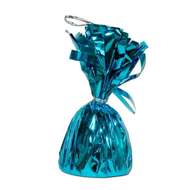 Metallic Wrapped Balloon Weight - Turquoise Pack of 12
