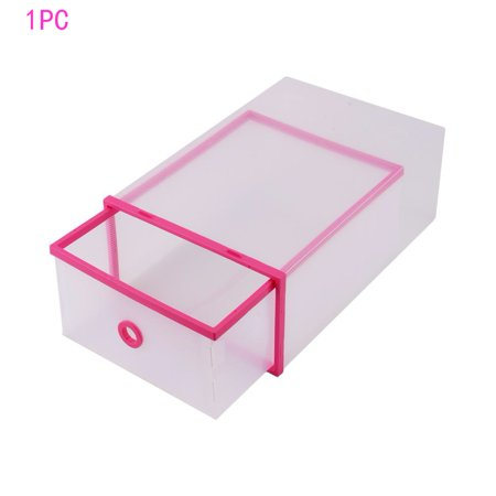WALFRONT 1PC Transparent Shoe Storage Boxes Clear Plastic Closet Drawer Box Home Office Stackable Storage Case Container Pink