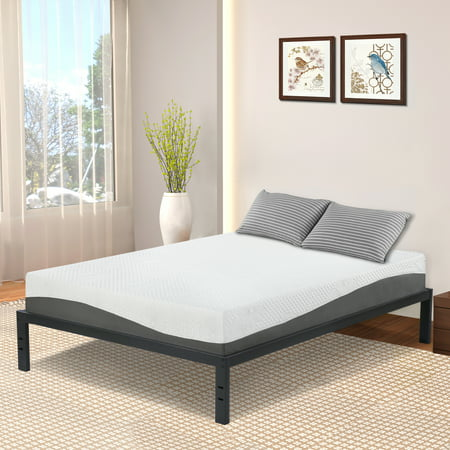 GranRest 14'' Modern Dura Steel Slat Bed Frame, Non-Slip, Queen