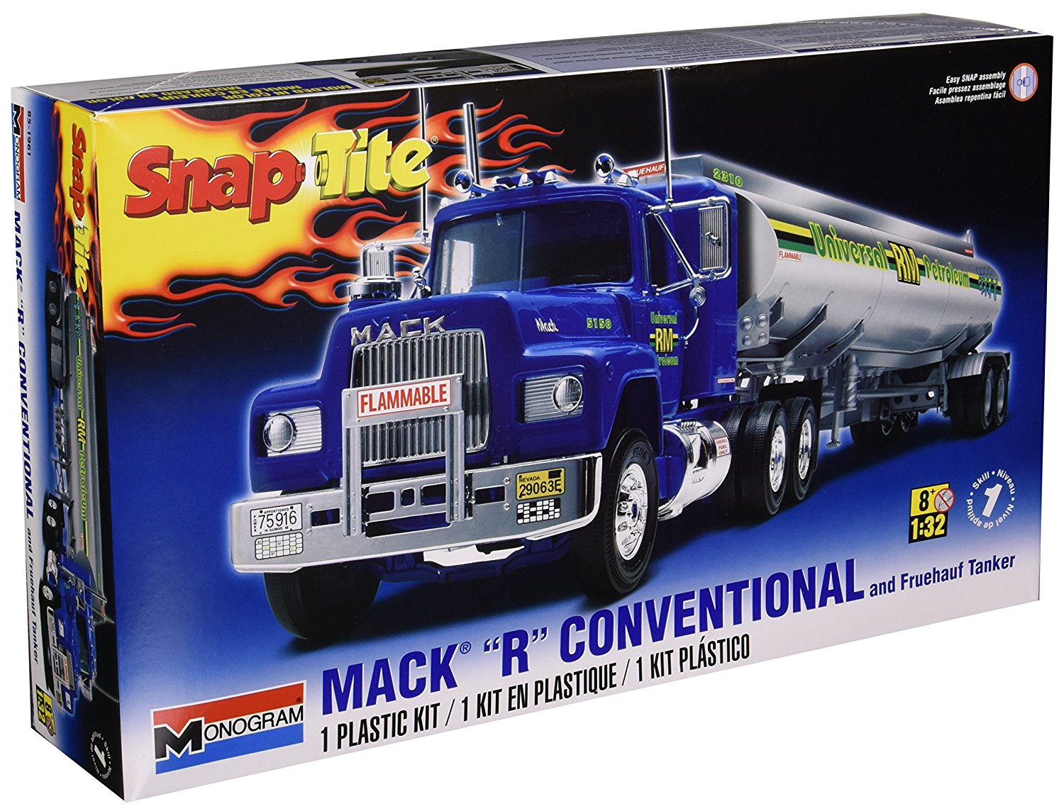 """1:32 Mack """"R"""" Conventional and Fruehauf Tanker Model Kit, Snap together assembly... by"""