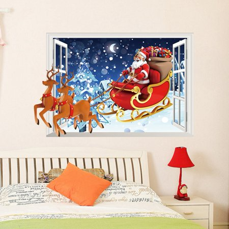 Reindeer Window (Removable Santa Claus Reindeer 3D Window Vinyl Wall Sticker Christmas Home Decor Wall Mural Decals )