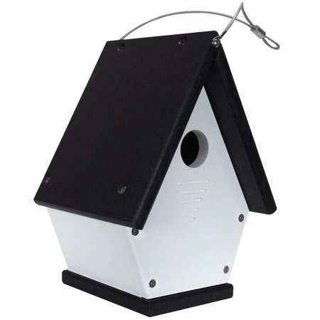 JCs Wildlife White/Black Wren Chateau Birdhouses, All Poly