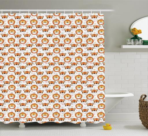 Kids Safari Bathroom Set: Safari Shower Curtain, Zoology Themed Pattern With Tiger