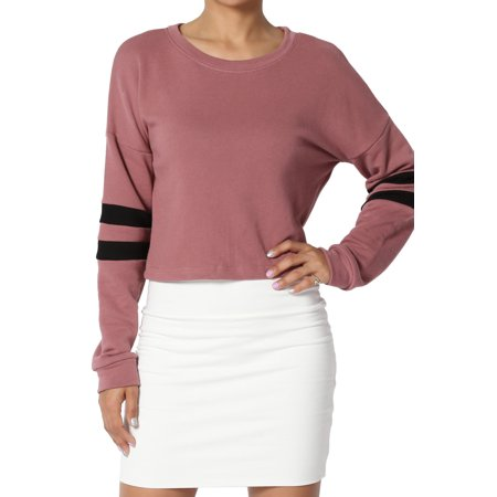 Dolman Crop - TheMogan Junior's Striped Dolman Long Sleeve Crop Top Loose Fit Cropped Sweatshirts