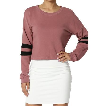 Therma Fit Fleece Top - TheMogan Junior's Striped Dolman Long Sleeve Crop Top Loose Fit Cropped Sweatshirts
