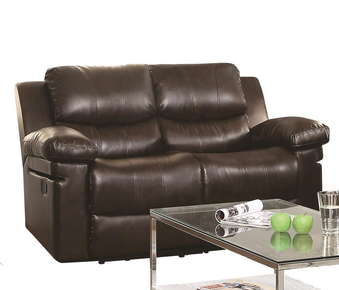 ACME Xenos Reclining Loveseat in Dark Brown Leatheraire by Acme Furniture