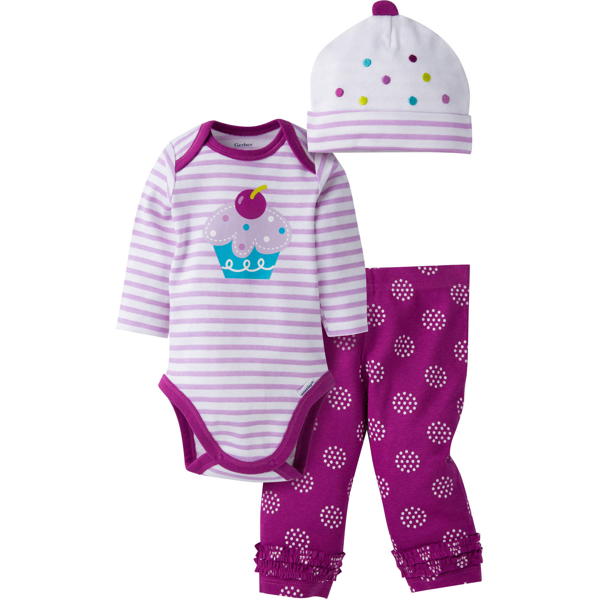 Gerber Newborn Baby Girl Bodysuit, Pant, and Cap Outfit Set, 3-Piece