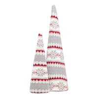 Holiday Time Fair Isle Knit Cone Trees, Red & Gray, Set of 2