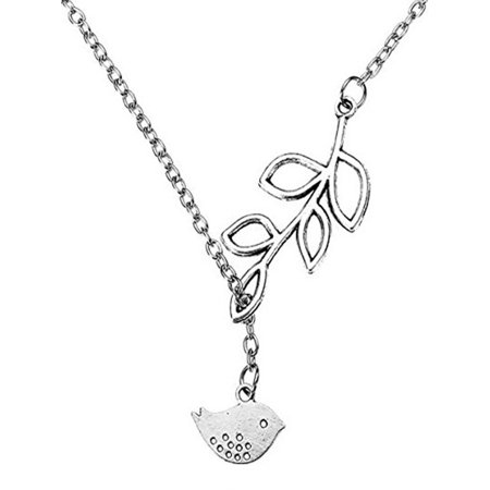 Silver Womens Love Bird & Leaf Dandle Pendant Necklace