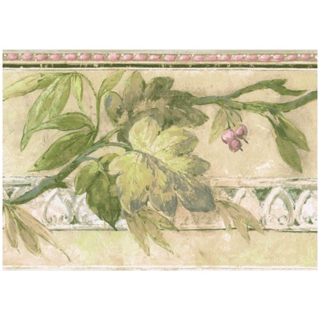 Wall Border - Retro Mauve Purple Berries on Vine Faux Distressed Wallpaper Border Paint by Design, Prepasted Roll 15 ft. x 7