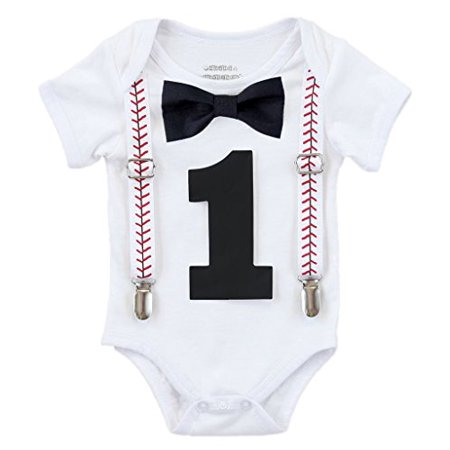 Noah's Boytique Baby Boy First Birthday Outfit Baseball Theme Party Shirt Black Bow Black Number One 6-12 Months](Greek Themed Outfits)