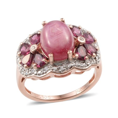 925 Sterling Silver Rose Gold Plated Oval Star Ruby Multi Gemstone Cocktail Fashion Ring For Women