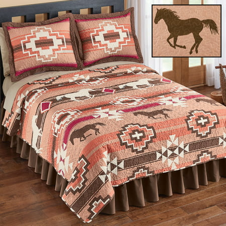 Southwest Native Aztec Terracotta, Brown & Burgundy Horses Twin Quilt &