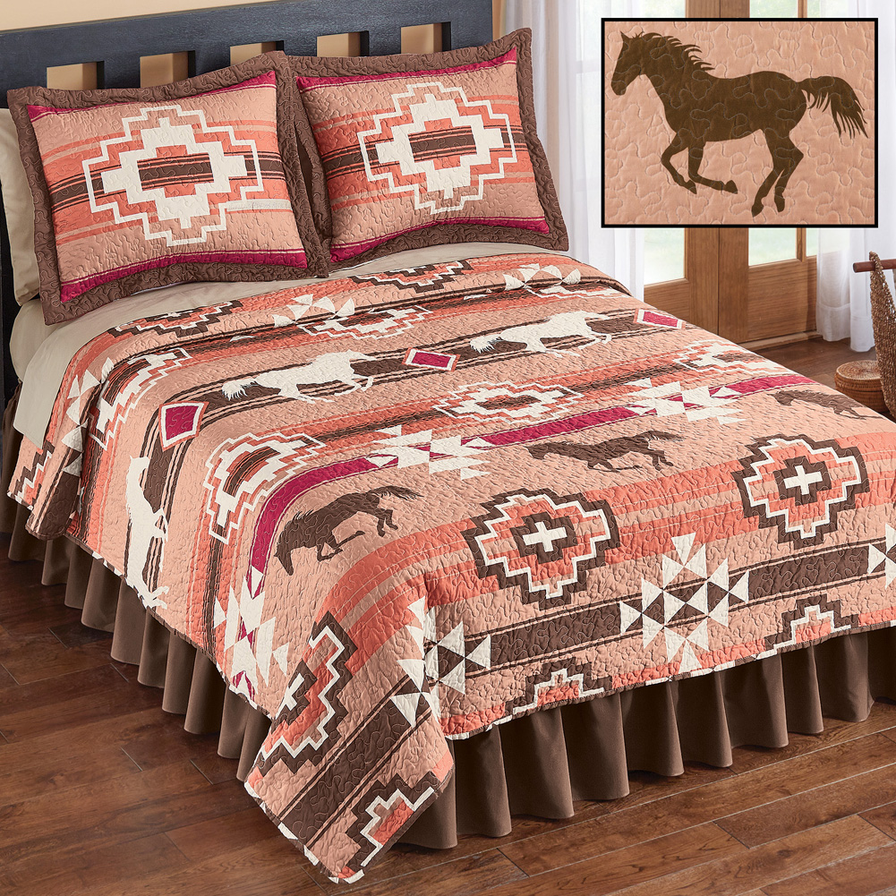 Southwest Native Aztec Terracotta, Brown & Burgundy Horses Twin Quilt & Sham