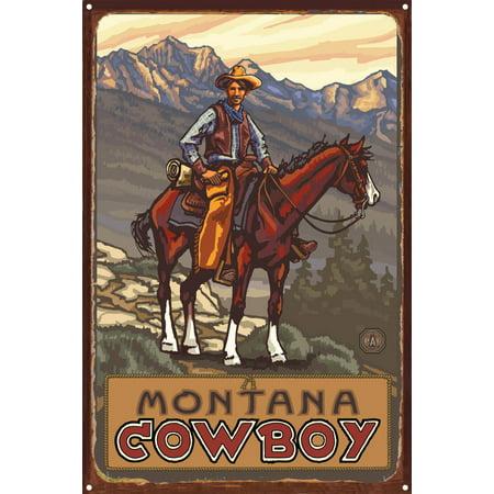 Montana Ranch Hand Rustic Metal Art Print by Paul A Lanquist 12 x 18