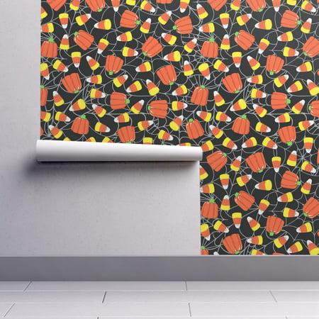 Wallpaper Roll or Sample: Candy Corn Pumpkin Spider Web Halloween Candy Trick