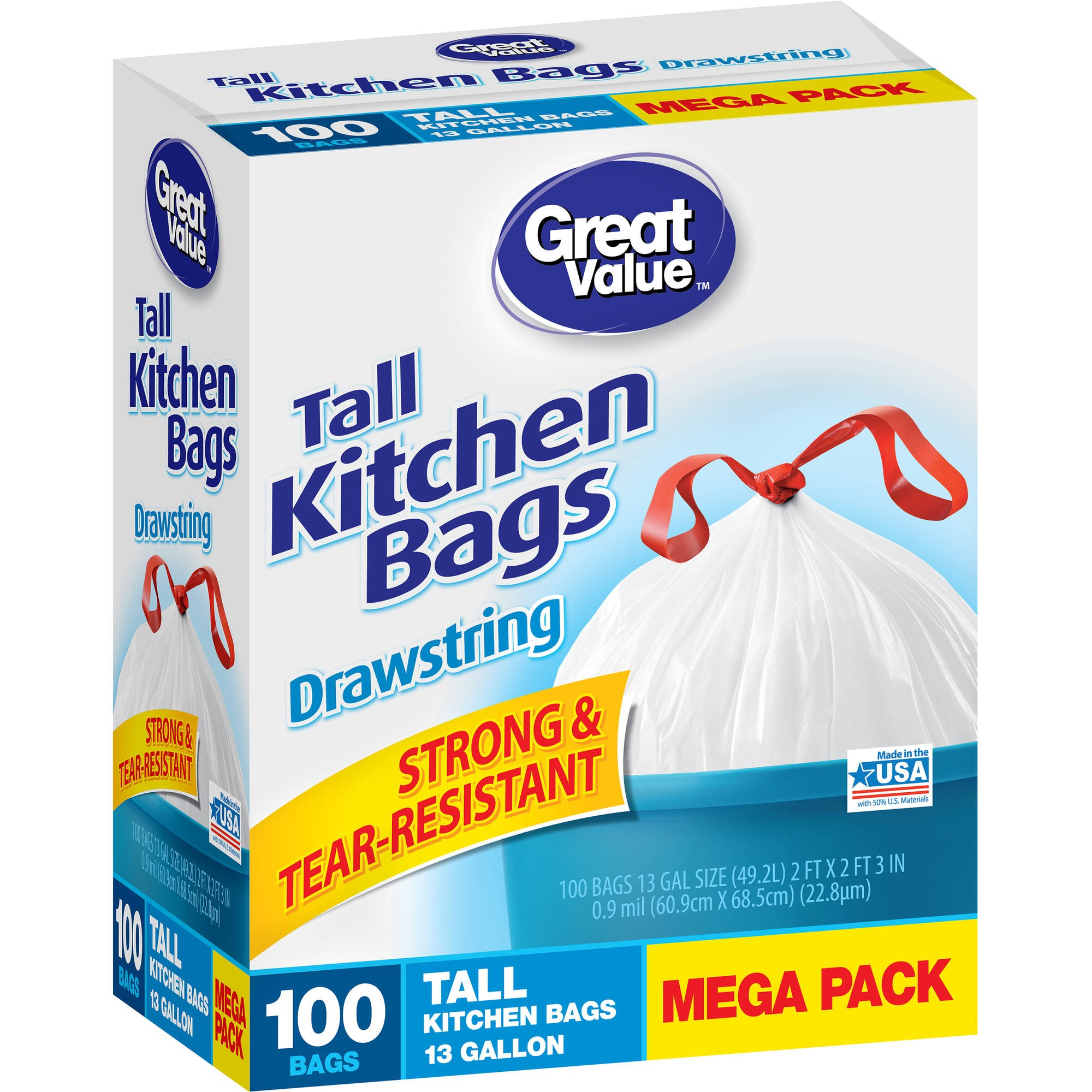 Great Value Tall Drawstring Kitchen Bags 13 Gallon White 100 Ct