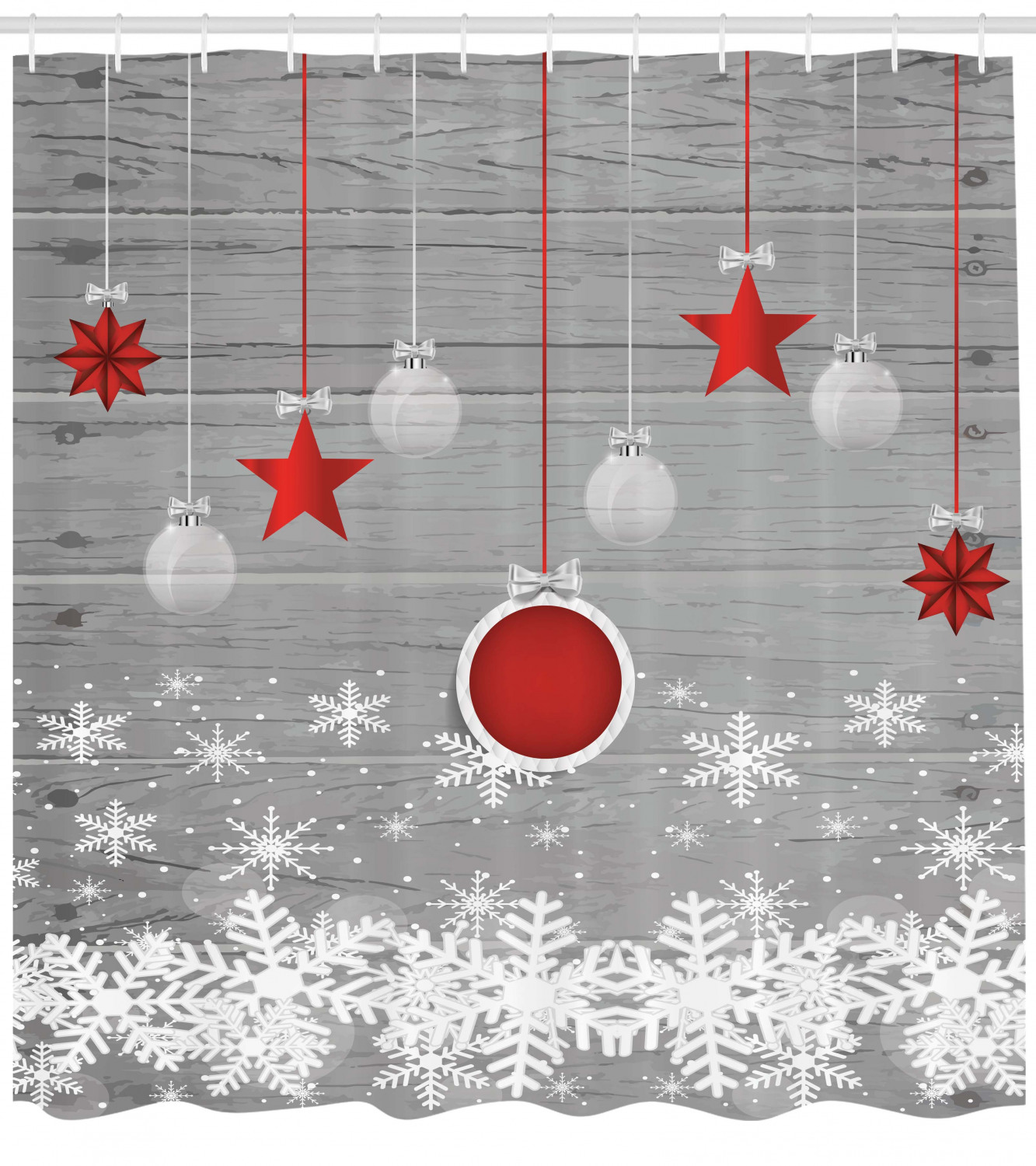Christmas Blue Balls Silver Stars Lights Snowflake Decor Fabric Shower Curtain
