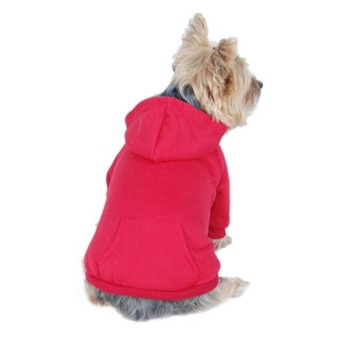 Red Dog Clothing Clothes Pet Puppy Plain Sweatshirt Hoodie Shirt Jacket Coat - Medium (Gift for Pet)