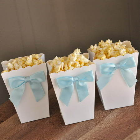 Bay Shower Ideas (Ready to Pop Mini Popcorn Boxes with Bows. Ships in 1-3 Business Days. Ready to Pop Baby Shower Ideas. Popcorn Favor Boxes)