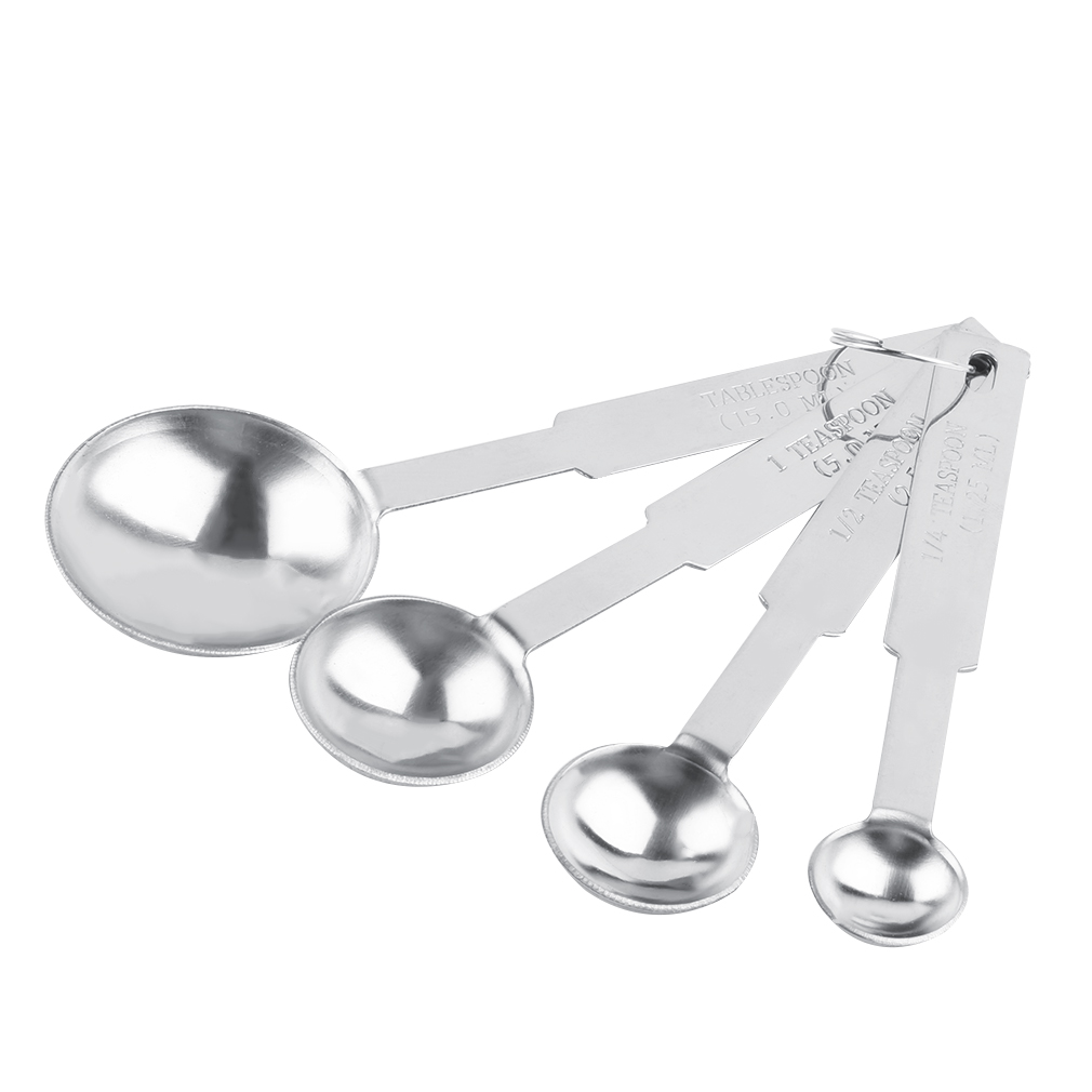 4pcs Kitchen Stainless Steel Tea Coffee Measuring Spoons Cup Baking Teaspoon by