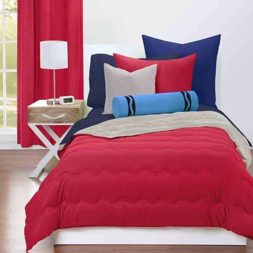 Crayola Scarlet and Timberwolf Reversible Comforter Set