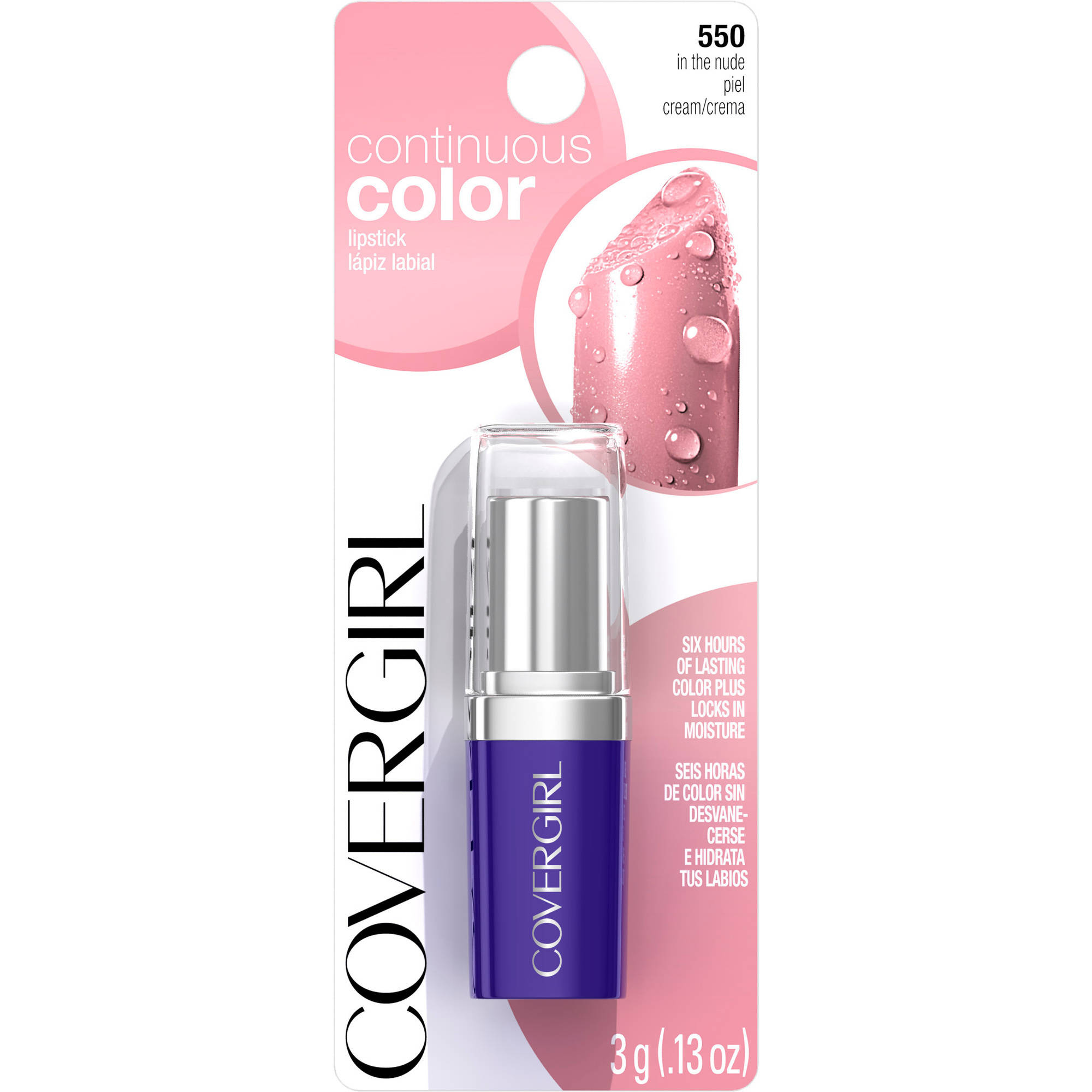 COVERGIRL Continuous Color Lipstick, 825 In the Nude, 0.13 oz