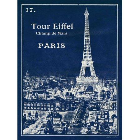 Blueprint Eiffel Tower Stretched Canvas - Sue Schlabach (18 x 24)