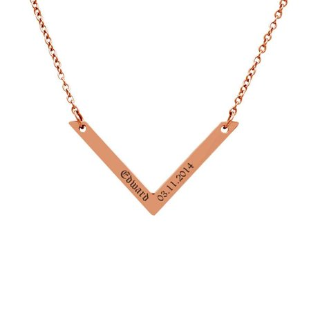 Personalized Rose Gold Women's Stainless Steel V Bar Pendant Engravable Couple Name Necklace Birthday Anniversary Jewelry Free Gift Box SHIPS NEXT DAY ()